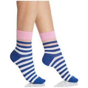 NWT Happy Socks Striped Mesh Blue White Pink